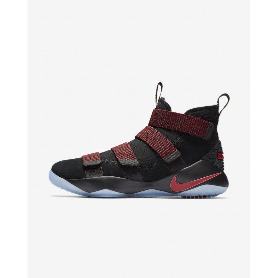 Womens Black/Red Stardust/Gym Red Nike LeBron Soldier XI Basketball Shoes 897644-008