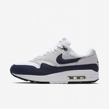 Womens White/Pure Platinum/Black/Obsidian Nike Air Max 1 Lifestyle Shoes 319986-104