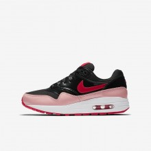 Nike Air Max 1 Lifestyle Shoes For Girls Black/Bleached Coral/Speed Red AO1026-001