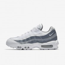 Mens White/Cool Grey/Wolf Grey Nike Air Max 95 Lifestyle Shoes 749766-105