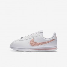 Girls White/Rust Pink/Coral Stardust Nike Cortez Lifestyle Shoes AH7528-102