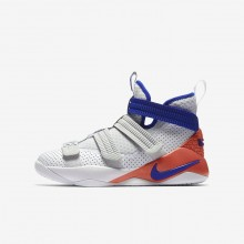 Boys White/Infrared/Pure Platinum/Racer Blue Nike LeBron Soldier XI Basketball Shoes AJ5123-101