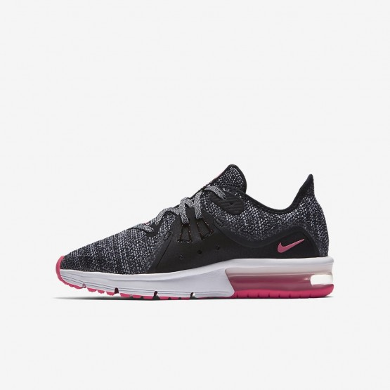 Nike Air Max Sequent Running Shoes For Girls Black/Anthracite/Cool Grey/Racer Pink 922885-001