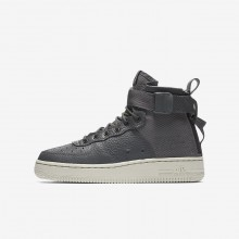 Boys Dark Grey/Light Bone Nike SF Air Force 1 Lifestyle Shoes AJ0424-002