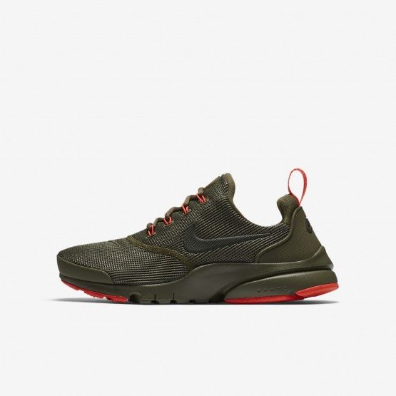Boys Medium Olive/Total Crimson/Sequoia Nike Presto Fly Lifestyle Shoes 913966-203