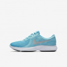 Girls Bleached Aqua/Light Blue Fury/White/Metallic Silver Nike Revolution 4 Running Shoes 943306-400