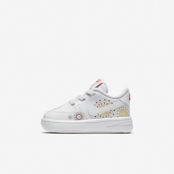 Girls Summit White/Habanero Red/Kinetic Green Nike Air Force 1 Lifestyle Shoes AO2092-100