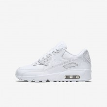 Boys White Nike Air Max 90 Lifestyle Shoes 833412-100
