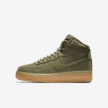 Boys Medium Olive/Gum Light Brown/Black Nike Air Force 1 Lifestyle Shoes 922066-202