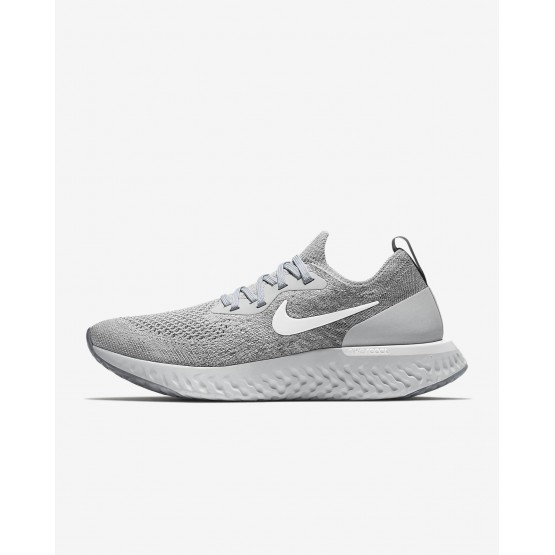 Womens Wolf Grey/Cool Grey/Pure Platinum/White Nike Epic React Flyknit Running Shoes AQ0070-002