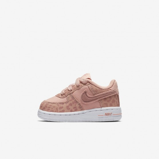 Girls Coral Stardust/White/Rust Pink Nike Air Force 1 Lifestyle Shoes AH7530-600