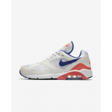 Mens White/Solar Red/Ultramarine Nike Air Max 180 Lifestyle Shoes 615287-100
