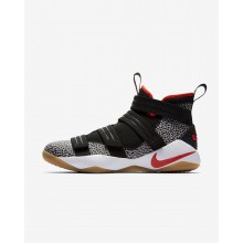 Nike LeBron Soldier XI Basketball Shoes For Women Black/White/Atmosphere Grey/Team Orange 897646-006