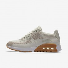 Womens Sail/Sand/Gum Yellow/White Nike Air Max 90 Lifestyle Shoes 881109-106