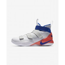Womens White/Infrared/Pure Platinum/Racer Blue Nike LeBron Soldier XI Basketball Shoes 897646-101