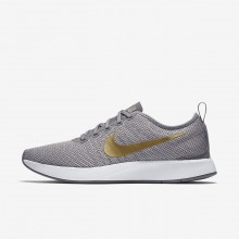Womens Gunsmoke/Atmosphere Grey/White/Metallic Gold Nike Dualtone Racer Lifestyle Shoes 940418-006