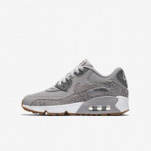 Nike Air Max 90 Lifestyle Shoes For Girls Atmosphere Grey/White/Gum Light Brown/Gunsmoke 897987-004