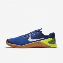 Mens Volt/Racer Blue/Gum Medium Brown/White Nike Metcon 4 Training Shoes AH7453-701
