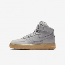 Boys Medium Grey/Black/Gum Light Brown Nike Air Force 1 Lifestyle Shoes 922066-002