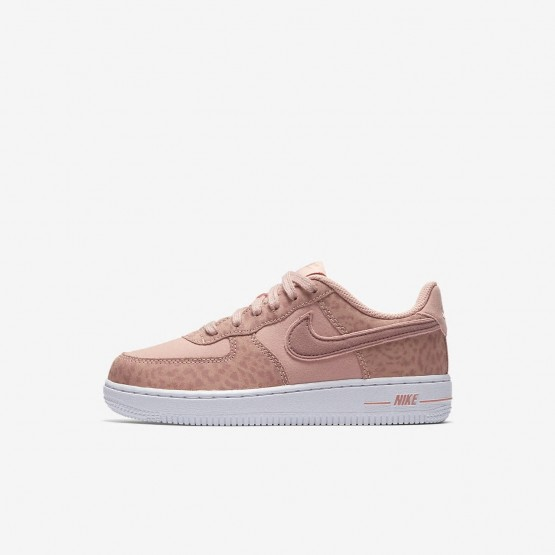 Girls Coral Stardust/White/Rust Pink Nike Air Force 1 Lifestyle Shoes AH7529-600