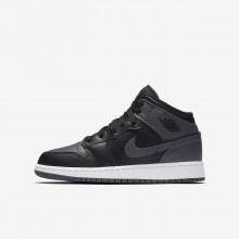 Boys Black/Summit White/Dark Grey Nike Air Jordan 1 Lifestyle Shoes 554725-041
