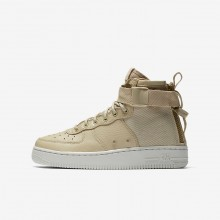 Boys Mushroom/Light Bone Nike SF Air Force 1 Lifestyle Shoes AJ0424-200