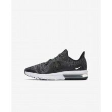 Boys Black/Dark Grey/White/Metallic Hematite Nike Air Max Sequent Running Shoes 922884-001