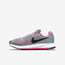 Girls Wolf Grey/Cool Grey/Racer Pink/Black Nike Zoom Pegasus Running Shoes 881954-001