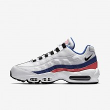 Mens White/Solar Red/Ultramarine/Black Nike Air Max 95 Lifestyle Shoes 749766-106