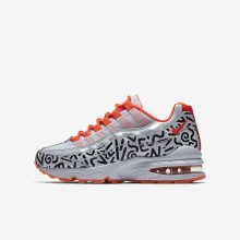 Boys White/Black/Bright Crimson Nike Air Max 95 Lifestyle Shoes AH3808-100