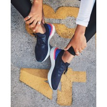 Womens College Navy/Racer Blue/Pink Blast Nike Epic React Flyknit Running Shoes AQ0070-400