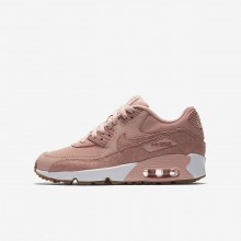 Girls Coral Stardust/White/Gum Light Brown/Rust Pink Nike Air Max 90 Lifestyle Shoes 897987-601
