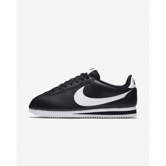 Womens Black/White Nike Classic Cortez Lifestyle Shoes 807471-010