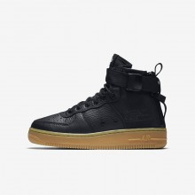 Boys Black/Gum Light Brown Nike SF Air Force 1 Lifestyle Shoes AJ0424-001